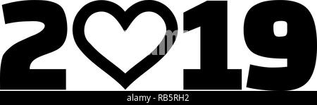 Year 2019 with heart - Stock Image