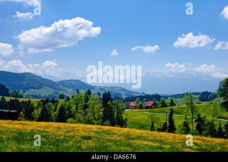 Gibswil, Tösstal, canton, ZH, Zurich, Switzerland, Europe, scenery, landscape, hill, spring - Stock Image