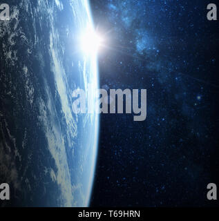 Earth planet from space on a star field and nebula backdrop, for science, business and space related backgrounds. Elements of this image furnished by  - Stock Image