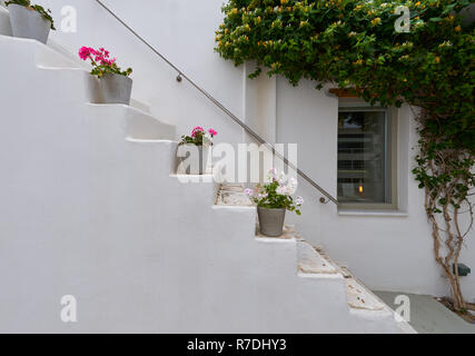 White staircase decorated with flowers at Naoussa village of Paros - Stock Image