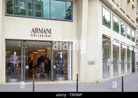 PARIS, FRANCE - JULY 22, 2017: Armani Collezioni fashion luxury store in Paris, France. - Stock Image