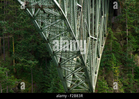 Under the Deception Pass Bridge, the common name for two, two-lane bridges on Washington State Route 20. - Stock Image