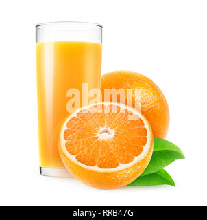 Isolated juice. Glass of fresh orange juice and cut oranges isolated on white background with clipping path - Stock Image