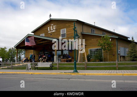 Ulu knife factory and shop, tourist attraction in Anchorage, Alaska - Stock Image
