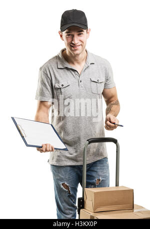 Courier hand truck boxes and packages - Stock Image