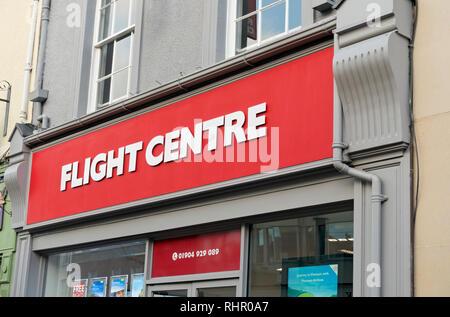Flight Centre travel shop sign York North Yorkshire England UK United Kingdom GB Great Britain - Stock Image
