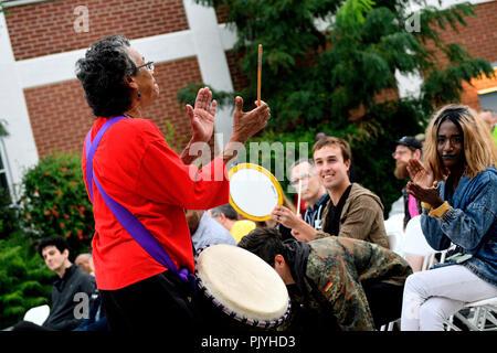 Philadelphia, USA. 08th Sep, 2018. Percussion group Music over Matter performs ahead of headliner cosmic and experimental jazz ensemble Sun Ra Arkestra, in Philadelphia, PA, on September 8, 2018. Credit: PhotograPHL/Alamy Live News - Stock Image