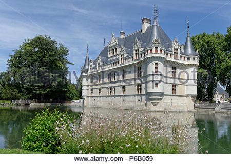 France, Centre, Indre et Loire, Loire Valley listed as World Heritage by UNESCO, Azay le Rideau, Azay le Rideau castle - Stock Image