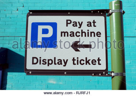 Pay at machine , Display ticket - street sign for motorists wanting to park their vehicles. Birmingham, UK. - Stock Image