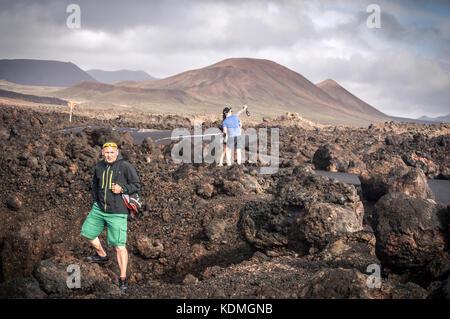 Tourists in Lanzarote island-Touristes sur l'île de Lanzarote - Stock Image