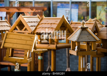 image of bird houses at garden centre - Stock Image