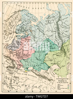 Ethnographic map of Russia in the 9th century. Color lithograph - Stock Image