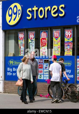 99p Store in main shopping street of Sudbury Suffolk UK - Stock Image