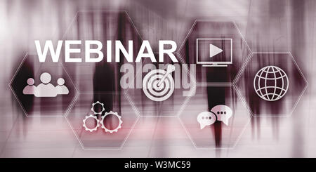 Inscription on virtual screen: Webinar. Abstract business background - Stock Image