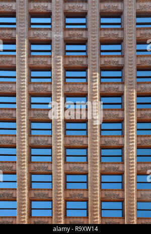 Rows of Windows of the Front Facade of the Guaranty Trust Building by Louis Sullivan and Dankmar Adler, Downtown Buffalo, NY - Stock Image