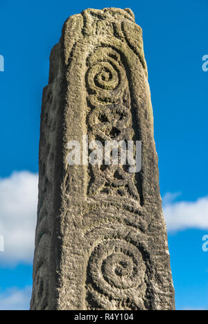 Anglo-Saxon stone monument in Bakewell church yard. - Stock Image