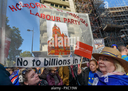 London, UK. 20th October 2018. Holborn & St Pancras Labour Party. People gather with placards, banners and flags at Hyde Park Corner for the People's Vote March calling for a vote to give the final say on the Brexit deal or failure to get a deal. They say the new evidence which has come out since the referendum makes it essential to get a new mandate from the people to leave the EU. Peter Marshall/Alamy Live News - Stock Image