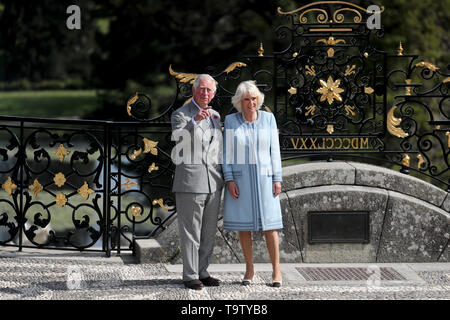 The Prince of Wales and the Duchess of Cornwall during a visit to Powerscourt House and Gardens in Enniskerry, Co Wicklow, on the first day of their visit to Ireland. - Stock Image