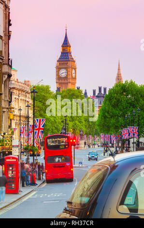 UK, England, London, Whitehall and Big Ben - Stock Image