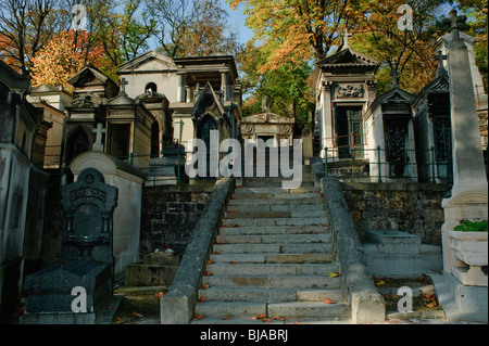 Paris, France - Pere Lachaise Cemetery, French Monuments Street Scene in Autumn - Stock Image