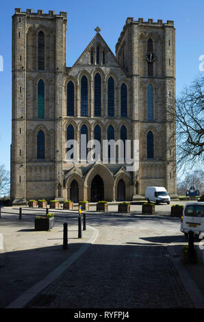 The west face of Ripon Cathedral North, Yorkshire, UK, on a sunny spring day - Stock Image