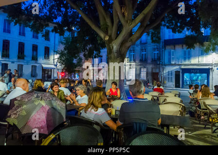 Avignon, FRANCE, People Sharing drinks on Terrace, in French Cafe Restaurants - Stock Image