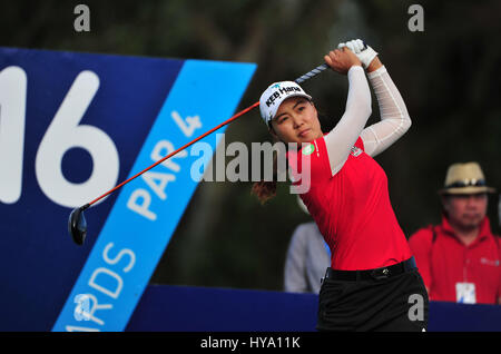 Rancho Mirage, California, USA. 2nd Apr, 2017. Minjee Lee on the 16th tee during the final round of the ANA Inspiration - Stock Image