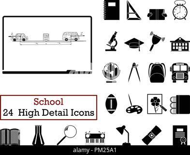 Set of 24  Education Icons. Monochrome color design. Vector illustration. - Stock Image