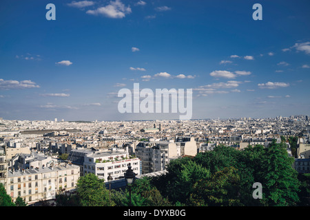 View of the city of Paris, France as seen from the Sacre Coeur (Sacred Heart) Basilica hill. - Stock Image