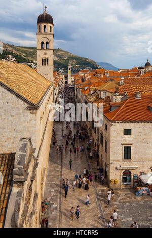 Stradun and Franciscan Monastery; Dubrovnik, Croatia - Stock Image
