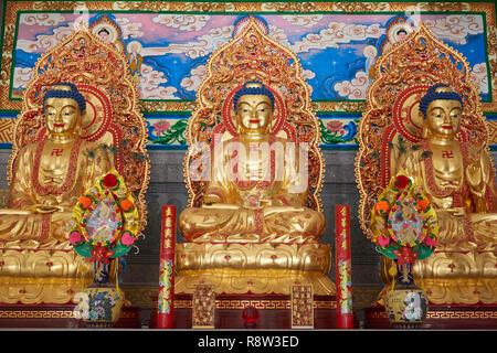 Detail of Gilt  Buddha inside Kuang Im Chapel, near River Kwai, Kanchanaburi, Thailand. - Stock Image
