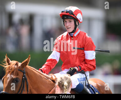 Ascot Racecourse, Windsor, UK. 21st June, 2019. Royal Ascot Horse racing; Race1; The Albany Stakes; Daahyeh Ridden By David Egan wins The Albany Stakes Credit: Action Plus Sports/Alamy Live News - Stock Image