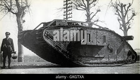 Mark IV Female Tank near Peronne just after the start of the German offensive, 23rd March 1918 - Stock Image