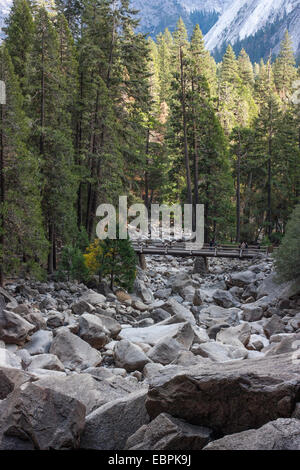 Yosemite Creek dry. Yosemite Valley, Yosemite National Park, Mariposa County, California, USA - Stock Image
