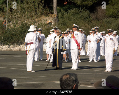 The Hon Judge John Alcantara CBE, Mayor of Gibraltar and First Sea Lord Admiral Sir Alan West, Gibraltar Tercentenary - Stock Image