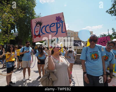 Athens, Greece. 22nd June, 2019. Best Buddies Greece organised the 6th Friendship Walk in Athens for people with Metallica and other disabilities. Credit: George Panagakis/Pacific Press/Alamy Live News - Stock Image