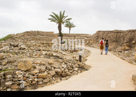 5 May 2018 Tourists enjoying the excavated ruins of the ancient city of Meggido in Northern Israel. This place is otherwise known as Armegeddon the fu - Stock Image