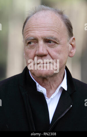 """BRUNO GANZ (22 March 1941 - 16 February 2019) the melancholy Swiss film actor who played an angel longing for the visceral joys of mortality in """"Wings of Desire"""" and a defeated Hitler with trembling hands facing his own mortality in """"Downfall,"""" died on Friday at his home in Zurich. He was 77. PICTURED: Mar 25, 2011 - Rome, Italy - Actor BRUNO GANZ attends the photocall for the film 'La fine e il mio inizio' (English: The End Is My Beginning, German: Das Ende ist mein Anfang). Credit: Evandro Inetti/ZUMAPRESS.com/Alamy Live News - Stock Image"""