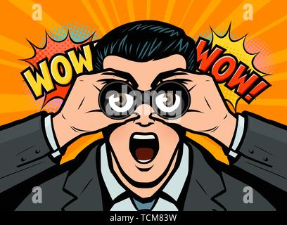 Surprised businessman looks through binoculars. Vector illustration in style comic pop art - Stock Image