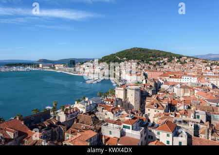 Aerial view of Split from St. Domnius Bell Tower, Croatia - Stock Image