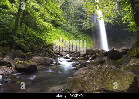 Beautiful Cascading Waterfall in Costa Rica Tropical Rainforest Jungle near La Fortuna in Arenal National Park - Stock Image
