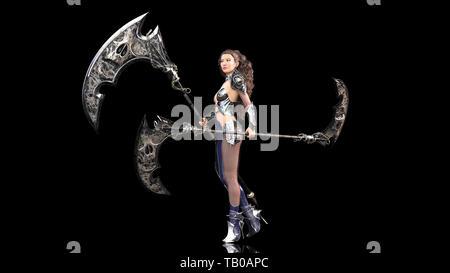 Ancient warrior princess, female fantasy fighter in battle armor holding medieval scythe blades, black background, 3D rendering - Stock Image
