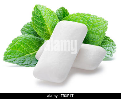 Chewing gum pads with mint leaves isolated on white background. - Stock Image