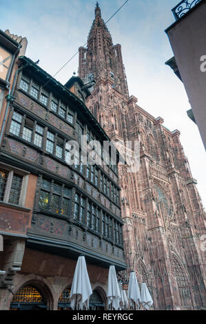 historical half-timbered houses in Strasbourg city center, Alsace, France - Stock Image