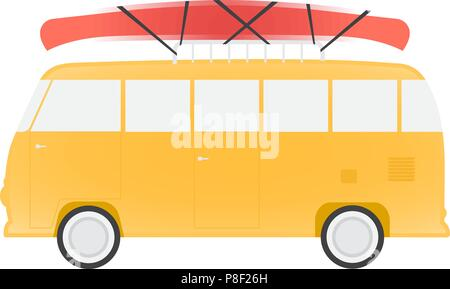Yellow bus for travel with canoe, vector illustration - Stock Image