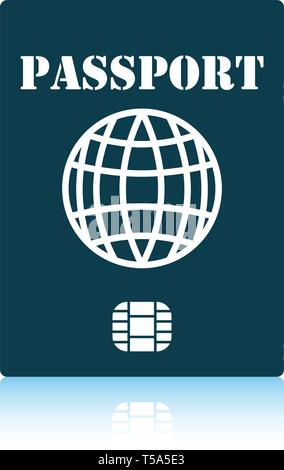 Passport with chip icon. Shadow reflection design. Vector illustration. - Stock Image