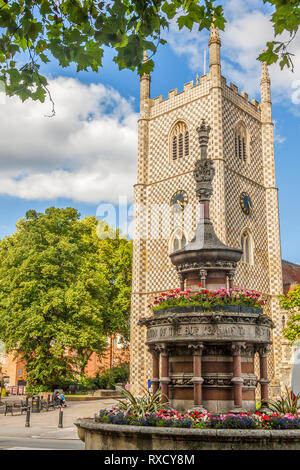 Victorian Fountain In Front of  Church, Reading, Berkshire, UK - Stock Image