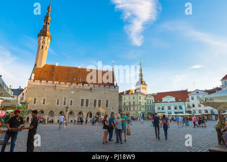 Tallinn Old Town Square, view on a summer evening of the Town Hall and colorful main square in the medieval Old Town quarter in Tallinn, Estonia. - Stock Image