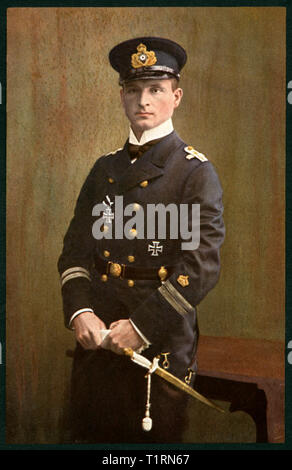 Germany, North Rhine- Westphalia, Herford, Otto Weddigen, German navy officer in WW I, Lieutenant Commander of the submarines U-9 and U-29, died 1915, postcard, sent 27. 10. 1915., Additional-Rights-Clearance-Info-Not-Available - Stock Image
