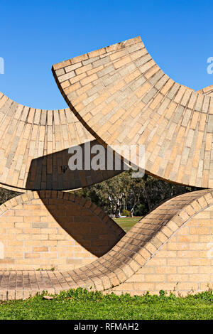 This is a sculpture designed by sculpture Peter Blizzard in Ballarat Victoria Australia.The sculpture was made using 30,000 Selkirk clay bricks to cel - Stock Image